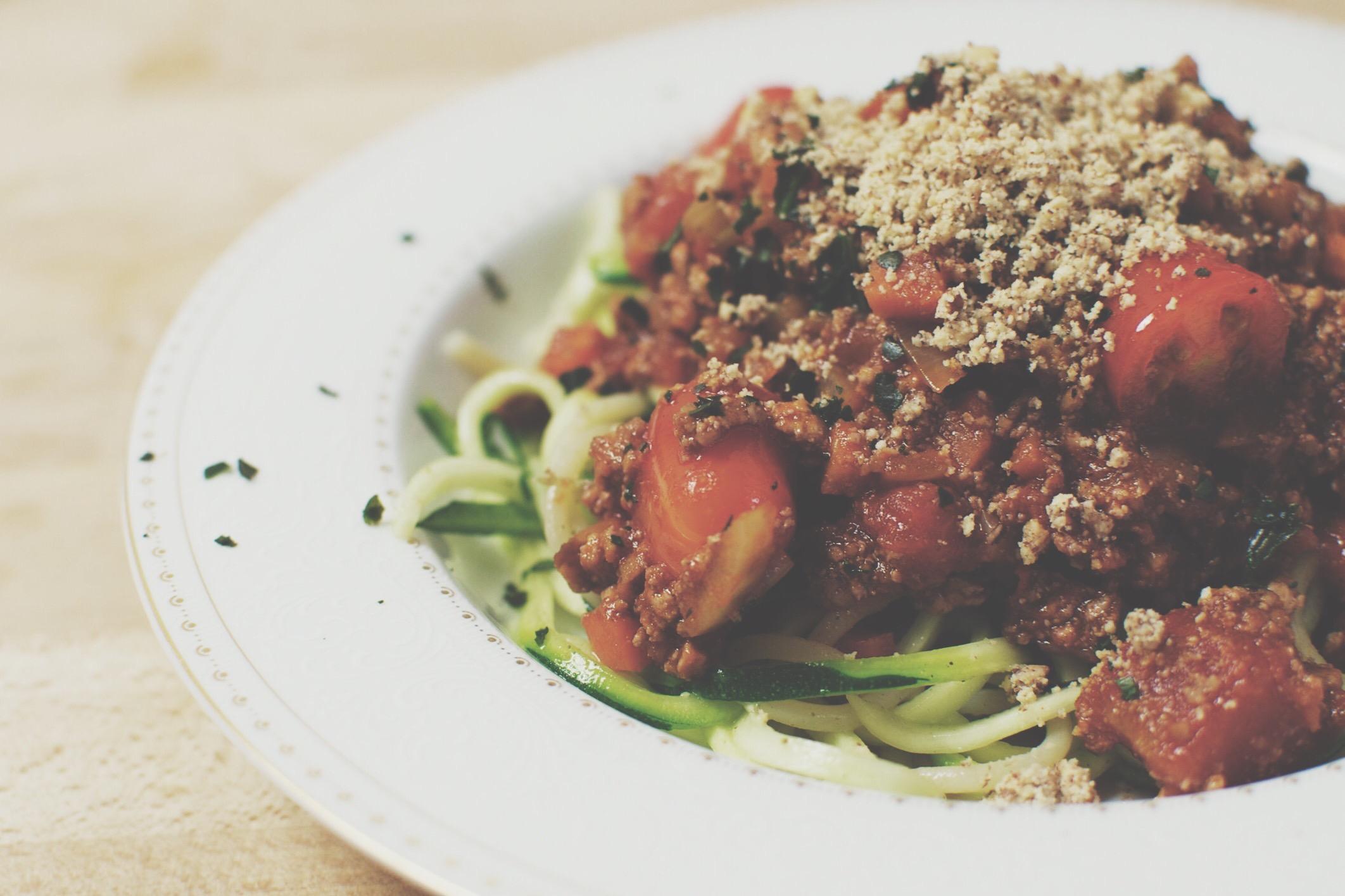 Spaghetti mit veganer Bolognese-Sauce